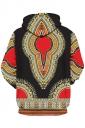 Womens Slant Pocket Drawstring Ethnic Pattern Printed Hoodie Black