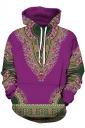 Womens Slant Pocket Drawstring Ethnic Pattern Printed Hoodie Purple