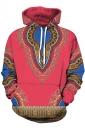 Womens Slant Pocket Drawstring Ethnic Printed Hoodie Watermelon Red