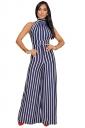Womens Halter Sleeveless With Waist Tie Wide Legs Stripe Jumpsuit Blue