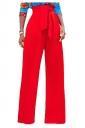 Womens Elegant High Waist With Belt Wide Legs Plain Leisure Pants Red