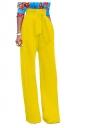 Womens Elegant High Waist With Belt Wide Legs Leisure Pants Yellow