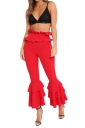 Womens Stylish Skinny Ruffle High Waisted Plain Bell Pants Red