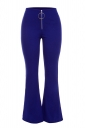 Womens Close-Fitting Zipper High Waisted Plain Bell Pants Blue