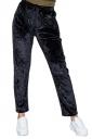 Womens Pocket Drawstring High Waisted Velvet Plain Leisure Pants Black