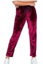 Womens Pocket Drawstring High Waisted Velvet Plain Leisure Pants Ruby