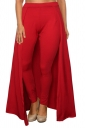 Womens Stylish High Waisted Ankle Length Pants With Cape Red