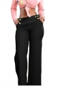 Womens Stylish High Waisted Wide Leg Pocket Button Leisure Pants Black