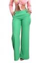 Womens Stylish High Waisted Wide Leg Pocket Button Leisure Pants Green
