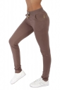 Womens Casual Pocket Drawstring Zipper Plain Leisure Pants Brown