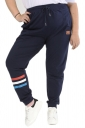 Womens Plus Size Drawstring Pocket Striped Leisure Pants Navy Blue