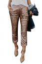 Womens High Waist Color Block Sequined Leisure Capri Pants Orange
