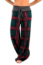 Womens Drawstring Waist Loose Plaid Color Block Leisure Pants Green