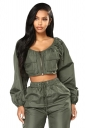Womens Pocket Front Zipper Crop Top&Elastic Waist Pants Suit Green