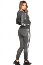 Womens Zipper Hoodie&Elastic Leggings Drawstring Plain Long Suit Gray