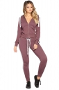 Womens Zipper Pocket Hoodie&Elastic Leggings Plain Long Suit Purple