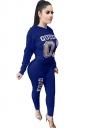 Womens Casual Word Printed Hoodie&High Waisted Leggings Suit Blue