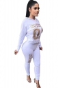 Womens Casual Word Printed Hoodie&High Waisted Leggings Suit White