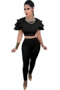 Womens Sexy Ruffle Shoulder Crop Top&High Waisted Leggings Suit Black