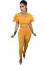 Womens Sexy Ruffle Shoulder Crop Top&High Waisted Leggings Suit Yellow