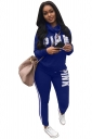 Womens Cowl Neck Word Printed Top&Striped Pants Suit Sapphire Blue