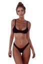 Womens Sexy Low Rise Top&Swimwear Bottom Two Piece Bikini Set Black