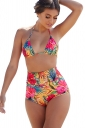 Womens Sexy Halter Backless Floral High Waisted Bikini Suit Yellow