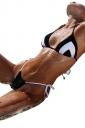 Womens Sexy Halter Top&String Swimwear Bottom Bikini Black And White
