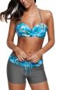 Womens Halter Twist Front Bikini Top%Boardshort Lace Up Swimsuit Blue