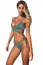 Womens Sexy Halter Bandage Top&Lace Up Bottom String Bikini Set Green