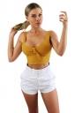 Womens Sexy Sleeveless Bowknot Plain Crop Top Ginger