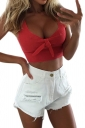Womens Sexy Sleeveless Bowknot Plain Crop Top Watermelon Red