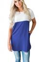 Womens Casual Crew Neck Pocket Short Sleeve Color Block Blouse Blue