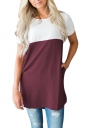 Womens Casual Crew Neck Pocket Short Sleeve Color Block Blouse Ruby