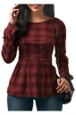 Womens Sexy Crew Neck Bandage Cut Out Back Bow Plaid Shirt Dark Red