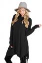 Womens Stylish Cowl Neck Asymmetric Hem Tassel Plain T-Shirt Black
