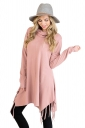 Womens Stylish Cowl Neck Asymmetric Hem Tassel Plain T-Shirt Pink
