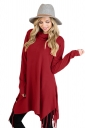 Womens Stylish Cowl Neck Asymmetric Hem Tassel Plain T-Shirt Ruby