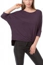 Womens Loose Crew Neck Batwing Sleeve High Low T-Shirt Purple