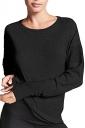 Womens Oversized Fishnet Crew Neck Long Sleeve Plain T-Shirt Black