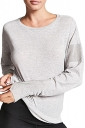 Womens Oversized Fishnet Crew Neck Long Sleeve Plain T-Shirt Gray