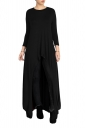 Womens Crew Neck High Low Asymmetric Hem Plain Maxi T-Shirt Black