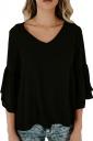 Womens Sexy V-Neck 3/4 Length Bell Sleeve Loose Plain T-Shirt Black