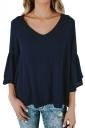Womens V-Neck 3/4 Length Bell Sleeve Loose Plain T-Shirt Navy Blue