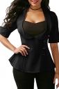 Womens Tailored Patchwork Back Cross Lace Up Dip Hem T-Shirt Black
