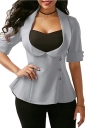 Womens Tailored Patchwork Back Lace Up Single-Breasted T-Shirt Gray