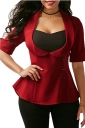 Womens Tailored Half Sleeve Back Cross Lace Up Dip Hem T-Shirt Red