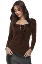 Womens Elegant U Neck Eyelet Cross Lace Up Long Sleeve T-Shirt Coffee