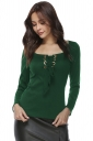 Womens Elegant Eyelet Cross Lace Up Long Sleeve T-Shirt Dark Green