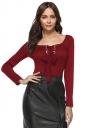 Womens Elegant U Neck Eyelet Cross Lace Up Long Sleeve T-Shirt Ruby